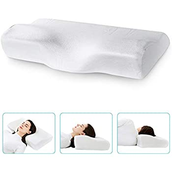 Marine Moon NiDream Bedding Contour Memory Foam Pillow Orthopedic Neck Pillow for Sleeping, Bamboo Cervical Pillow for Neck Pain- for Side Sleeper, Back and Stomach Sleepers, Cooling Pillowcase