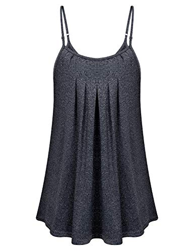 - Tunic Tank Tops for Women, Viracy Ladies V-Neck Camisole Business Homecoming Luau Shirt Flared Backless Blouses Junior Shirred Cami Quick Dry Faddish Sexy Peplum Tops for Hot Summer Hawaii Tee Gray XL