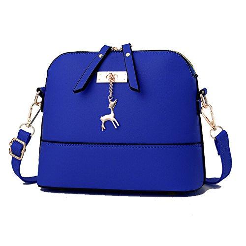 19cm Blue Generic PU Handbag Shell Women 25 Vintage Leather Shoulder 10 Bags Model 6P7PqW
