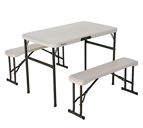 LIFETIME 80352 Mesa plegable con bancos resistente UV100, Blanca, 106x61x74 cm