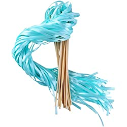 Wishprom Ribbon Wands Sticks Streamers for Wedding Party Favor (Aqua-30PCS)