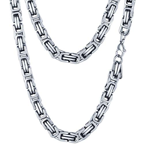 PROSTEEL 6MM Stainless Steel Choker Necklace for Men Jewelry Vintage Byzantine Chain Link Silver Tone,18 Inches (Tone Link Chain Silver)