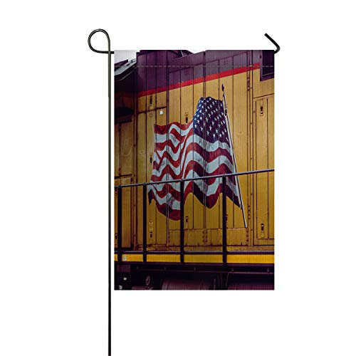 Welcome Garden Flag Old Wood Board Train American Flag Holiday Decorative Flags Yard Flag House Banners for Indoor Outdoor/Outside Home Decor Double Side Printed Abstract Artwork 12x18inch]()