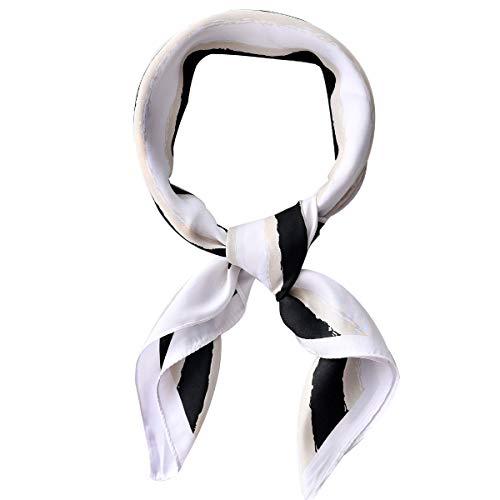 - AOLIGE Hair Scarf Satin Square Head Neck Scarfs for Women (Black White Yellow Stripe)
