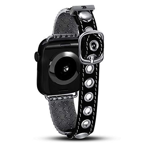 Rodeo - Original Cuff - (Premium Cuff Compatible with The Apple Watch Series 1,2,3,4 / Apple Watch Band, (Gunmetal, 42mm/44mm) Apple Watch Strap, Fine Metal & Genuine Leather