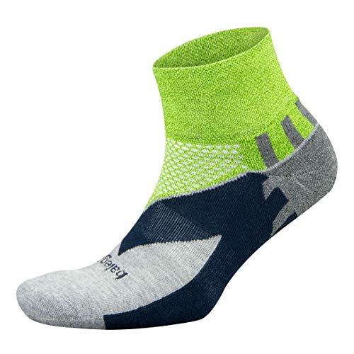 Balega Enduro V-Tech Quarter Socks For Men and Women (1 Pair), Green/Grey, Medium