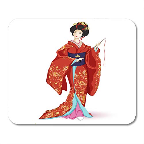Emvency Mouse Pads Japan National Doll Hina Ningyo in Red Kimono Pattern of Gold Lilies Character Cartoon Mouse pad Mats 9.5