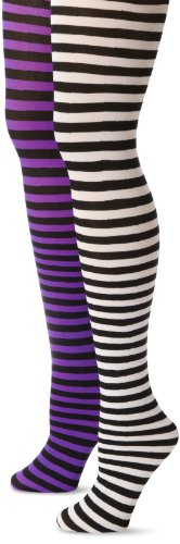 MUSIC LEGS Women's Plus-Size 2 Pack Opaque Striped Tights, Black/White/Black/Purple, One -