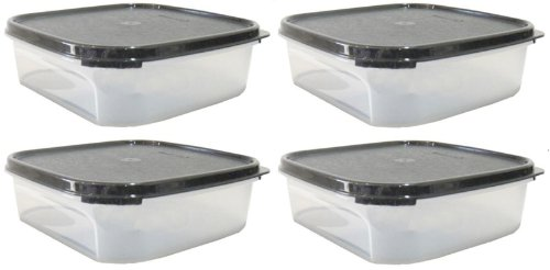 Tupperware Modular Mates Square I (4) 1.2L (Black) (Tupperware Square Round Lids)
