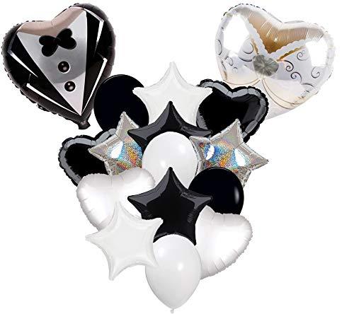 Russ Valley Heart Star Shape Wedding Groom Tuxedo Bride Dress Helium Mylar Foil Balloons, 16 Pack       (Mylar Heart Party Balloon)