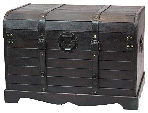 Attrayant Antique Style Black Wooden Steamer Trunk, Coffee Table