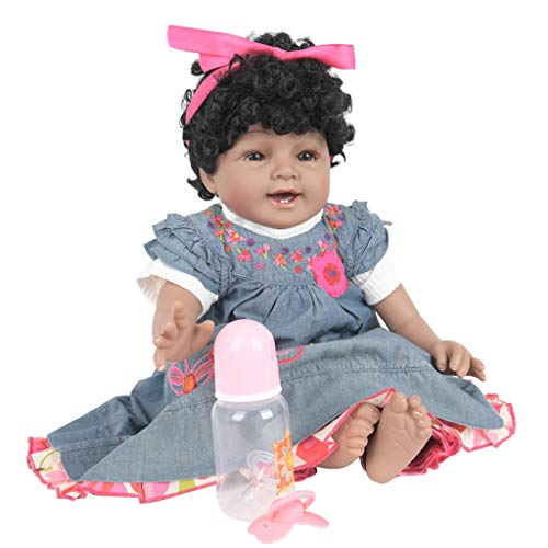 Oufenli Reborn Baby Girl Dolls 22 inch Silicone Lifelike Weighted Reborn Doll with Clothes for Best Birthday Gift for Girls Age 3+ -