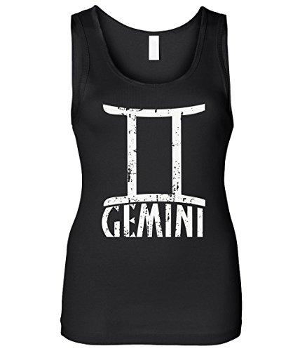 Cybertela Women's Distressed Gemini Sign Slim Fit Tank Top (Black, Small) - Gemini Womens Top