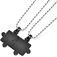 Couple necklace,Men,Womens 2PCS Stainless Steel Pendant Necklace Puzzle Valentine Adjustable for Lovers,Couples Gift (Black)