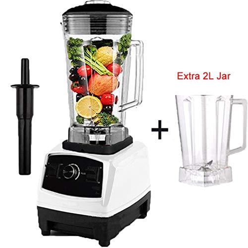 2200W Heavy Duty Commercial Blender Professional Blender Mixer Food Processor Japan Blade Juicer Ice Smoothie Machine,white extra jar,C,EU Plug -