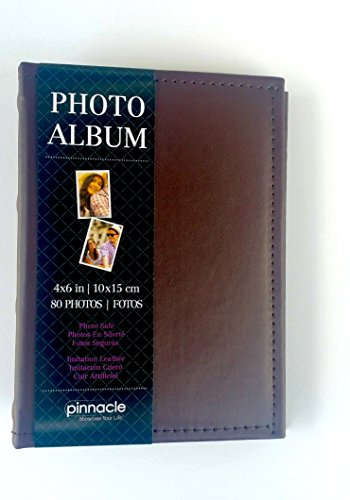 Compact Brown Imitation Leather Photo Album Holds 80 Individual 4in X 6in Pictures