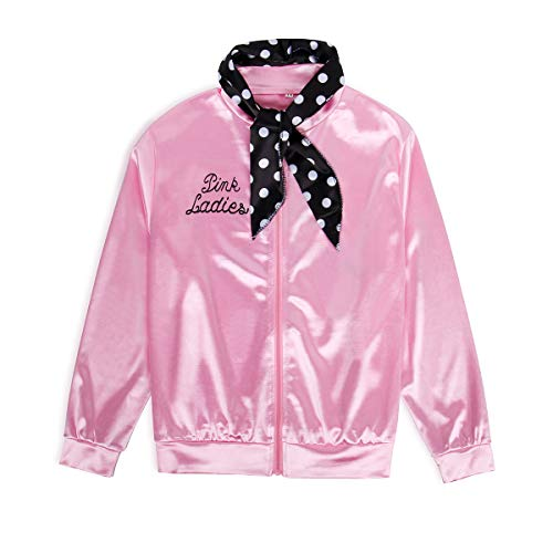 NielijuanST Child Kids 1950s 50S Pink Party Satin Jacket Wth Polka Dot Headband Ladies Halloween Costume Outfit Little Girls' Coat Size 6-14 (14, Style 01)]()