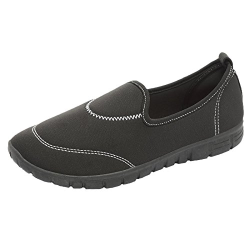 Womens Slip On Pumps Ladies Lightweight Comfort Flexi Walk Sports Trainers Shoes Black cYG512ub