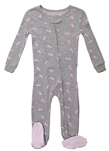 Baby Girl Onesie Sleepwear Long Sleeve Top & Non-Skid Toddler Footed Pajama Set (3T, Grey)