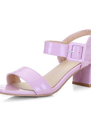 ShangYi Women's Shoes Patent Leather Chunky Heel Open Toe Sandals Office & Career / Dress / Casual Black / Pink White Zk4fi3jw