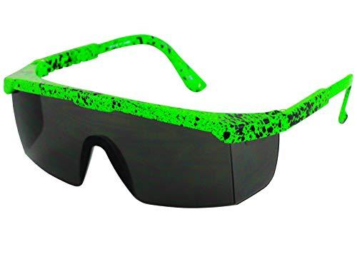 Semi Rimless Performance Wrap Around Sport Style Retro Mirrored Unisex Sunglasses (Green)