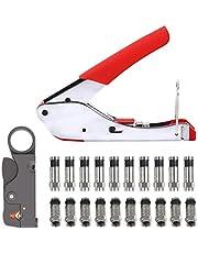 BUYGOO Coax Kabelkrimper Tool Kit met verstelbare dubbele blade draad stripper tool, coaxiale compressie tool en F vrouwelijke connector terminals