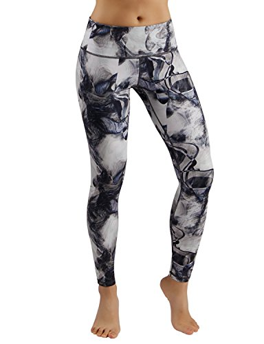 ODODOS Power Flex Printed Yoga Pants Tummy Control Workout Non See-Through Leggings with Pocket,Crosstalk,Small