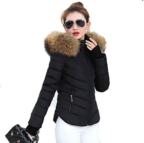 largo trapuntato pelliccia taglia con donna Giacca in cappuccio giacca Angatrade Alma collo blu Xs nv7W0W8px