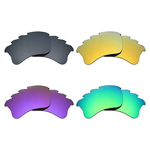 Mryok 4 Pair Polarized Replacement Lenses for Oakley Flak Jacket XLJ Vented Sunglass - Black IR/24K Gold/Plasma Purple/Emerald Green (Flak Jacket Xlj-oakley)