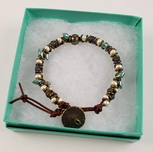 Boho Beaded Leather Woven Friendship Bracelet With Teal Raku Focal Bead, Purple & Pearl beads with Teal metallic leaf accents, Antique Brass rings and Sand Dollar Button Clasp