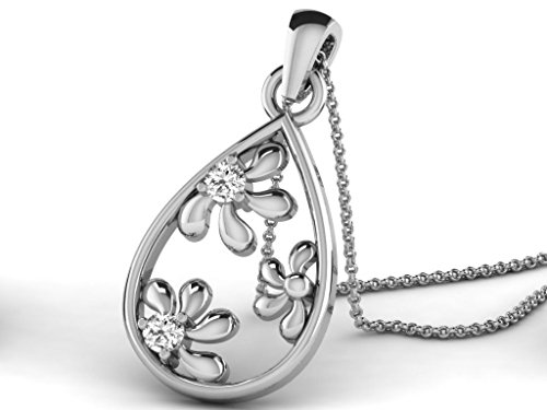 Or Blanc 14 ct Pendentifs Diamant en forme de poire, 0.07 Ct Diamant, GH-SI, 1.23 grammes.