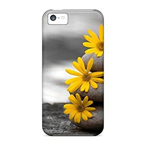 Case Cover, Fashionable Iphone 4 4s Case - Yellow Flowers In Pile Of Stones