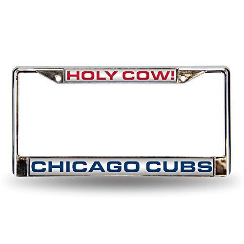 Chicago Cubs Engraved Baseball - Rico Industries RIC-FCL5322 Chicago Cubs MLB Laser Chrome License Plate Frame