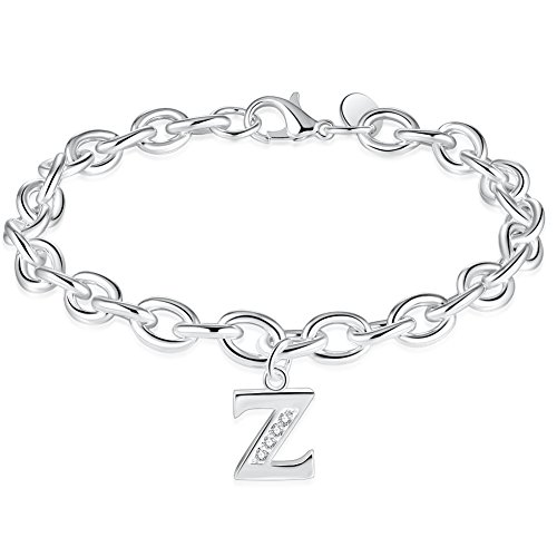 MOCAL Initial Charm Letter Bracelet Silver Tone 26 Letter Sequins Bangle Handmade Gift Women Jewelry