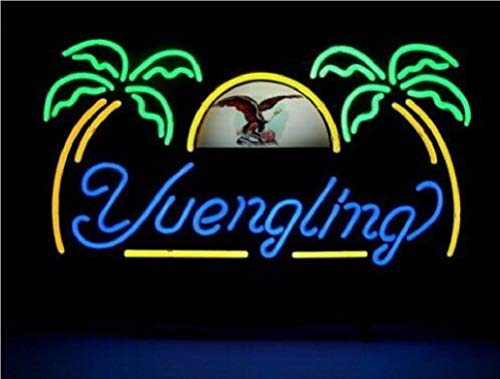 """QUEEN SENSE 17""""x14"""" Yuengling Eagle Lager Palm Tree Neon Sign (VariousSizes) Beer Bar Pub Man Cave Handmade Glass Lamp Light DB375"""