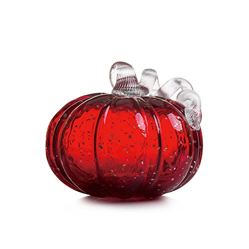 Glitzhome 5.71 Inch Hand Blown Red Glitter Glass Pumpkin Table Accent