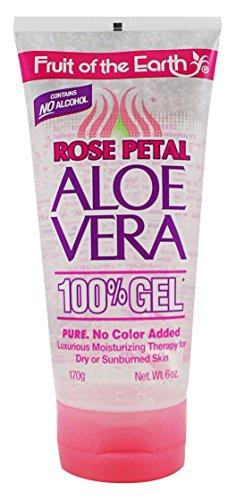 Fruit Of The Earth 100% Aloe Vera Gel 6 Ounce Rose Petal (177ml) For Sale