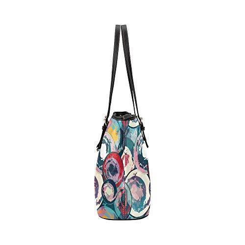 WDDHOME axelväska konst kreativ mode rund graffiti läder hand död väska vardagliga handväskor dragkedja axel organizer för kvinnor flickor kvinnor flickor axelväska