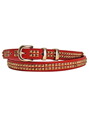Red Double Row Gold Studded Skinny Belt Size Small