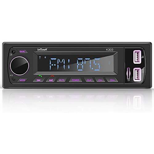 chollos oferta descuentos barato ieGeek Autoradio Bluetooth Estéreo RDS 60W 4 Sistema de Radio Llamada Manos LibresFM Am luz de botón de 7 Colores Pantalla de Reloj Soporte Dual USB FM BT AUX SD con Control Remoto