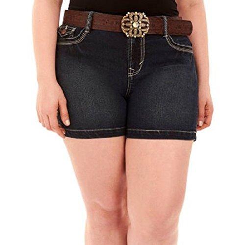 Faded Glory Embroidered Shorts (Faded Glory Denim Jean Shorts w/ Rhinestone Belt Dark Blue / Black Plus Size 22W)