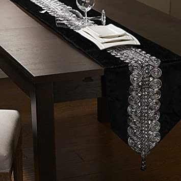 Superbe Black/Silver Table Runner 80u0026quot;¡Á12u0026quot;, ...