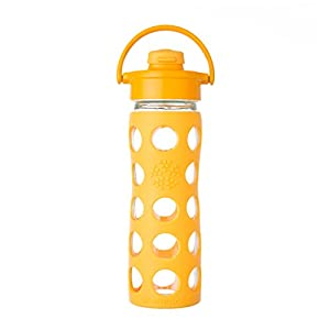 Lifefactory 16-Ounce BPA-Free Glass Water Bottle with Flip Cap and Silicone Sleeve, Collegiate Yellow