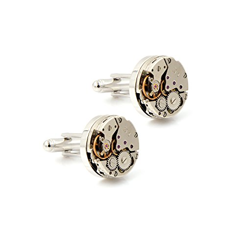 Vintage Steampunk Round Watch Movement Gears Mechanical Cufflinks for (Mechanical Watch Cufflinks)
