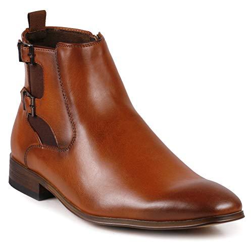 Metrocharm MC143 Chukka Monk Strap Ankle Dress Oxford Boot (9.5, Tan)