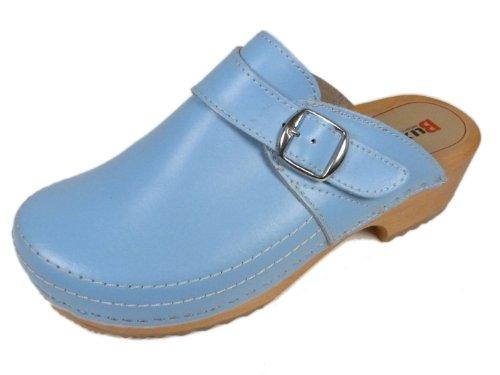 Buxa Zuecos de Cuero para Mujer con Suela de Madera y Costura Especial Azul Claro