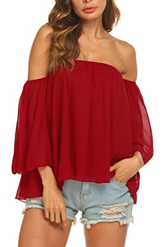 OURS Chiffon Tops Blouses Long Sleeve Loose Fit Off Shoulder Crop Tops Wine Red, Large (Red Off Shoulder)