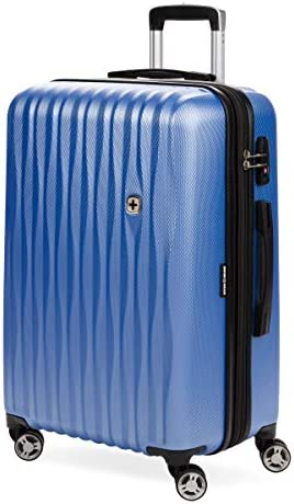 SwissGear 7272 Energie Hardside Expandable Luggage with Spinner Wheels, Periwinkle blue, Checked-Large 27-Inch