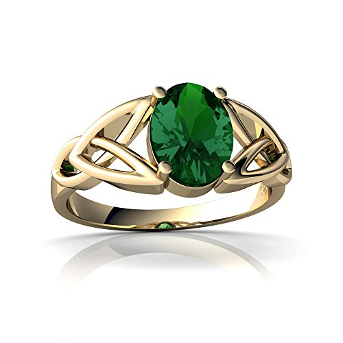 14kt Yellow Gold Lab Emerald 8x6mm Oval Celtic Trinity Knot Ring - Size 9 ()