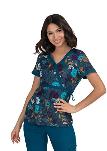 KOI Prints Women's Kathryn Mock Wrap Web Print Scrub Top (Caribbean Flower, XX-Small) (Top 20 Best Selling Flowers)